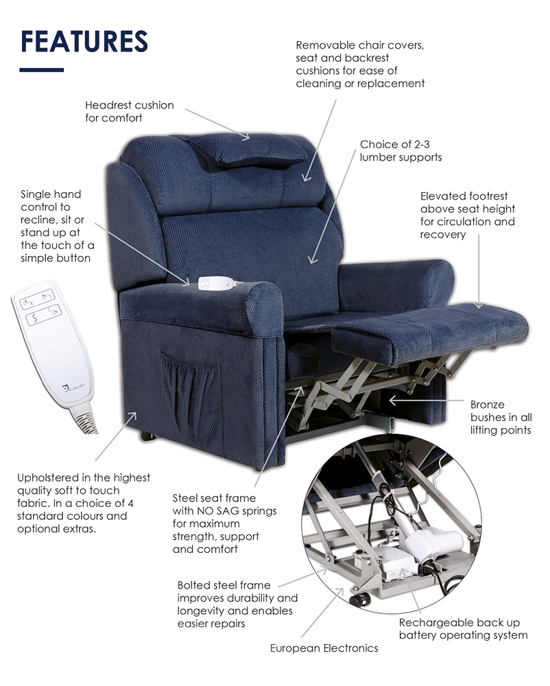 Ambassador Lift & Recline Chair Features